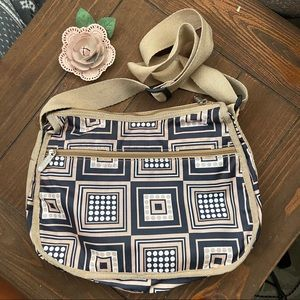 LeSportsac Tan & Black Crossbody Purse